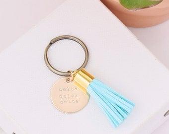 Delta Delta Delta Sorority Keychain, Personalized Tri Delta Sorority Key Chain, Tri Delt Sorority Tassel Keychains, Big Little Keychain