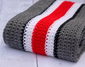 Ohio State Helmet Scarf -- Striped Winter Scarf, Scarlet & Gray Scarf, OSU Helmet, Ohio State Helmet Stripes, Buckeye Football, OSU Buckeyes