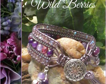 WILD BERRIES Beaded Leather Wrap Cuff Bracelet, Gemstones & Czech Crystals, Amethyst Fuchsia, Boho Vintage Style Handmade Jewelry, Ravengirl