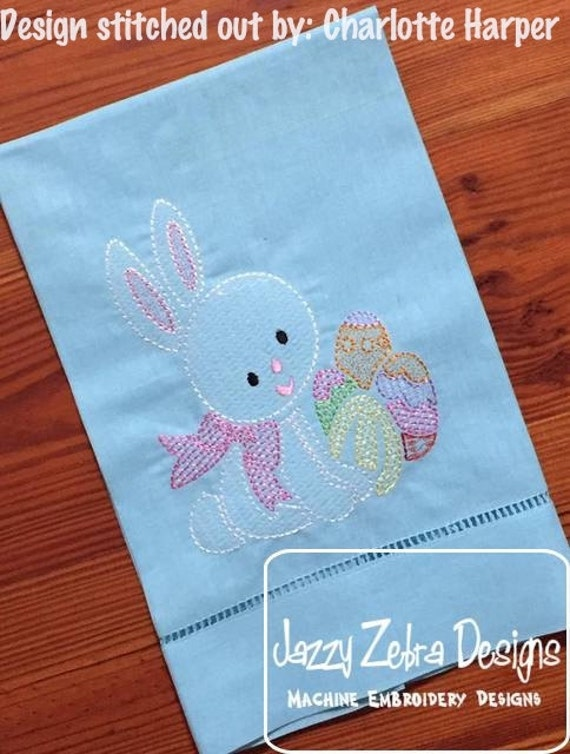 Bunny with easter eggs motif filled embroidery design - easter embroidery design - bunny embroidery design - rabbit embroidery design