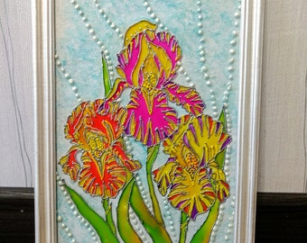 Original iris painting free shipping flower painting iris wall art glass painting flower wall decor, iris flower artwork, hand painted glass