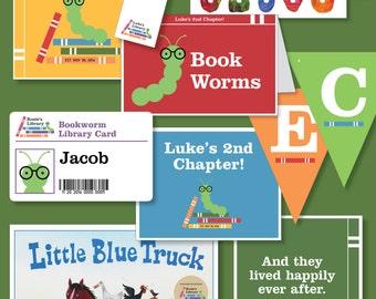 Boys Bookworm Library-Themed Birthday - Printable