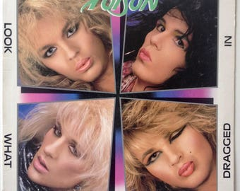 Poison - Look What The Cat Dragged In LP Vinyl Record Album, Enigma Records - ST-12523, Hard Rock, Heavy Metal, Glam, 1986
