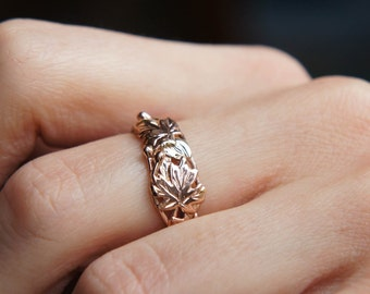 Autumn leaves ring, rose gold ring, maple leaf ring, gold branch ring, three gold tone ring, unique engagement ring, unique wedding ring