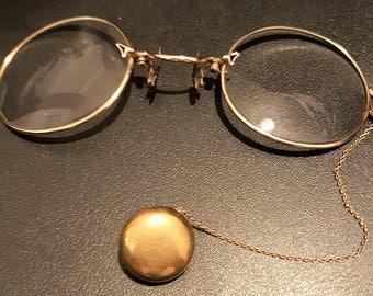 Vintage pince nez, antique pince nez, Edwardian eyeglasses, fingerpiece pincenez, ladies pince nez, vintage spectacles, antique glasses,