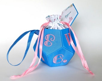Blue and Pink Small d12 bag - dice bag and miniature bag