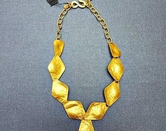Kenneth Jay Lane vintage gold statement necklace- vintage bib necklace-KJL vintage necklaces-Kenneth J Lane-gold vintage necklace-statement