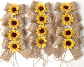 Sunflowers Burlap Mason Jars Bows / Small Burlap Bows Decor w Flower / Burlap Bows with Yellow Sunflower / Set of 12 / Handmade Small Bows