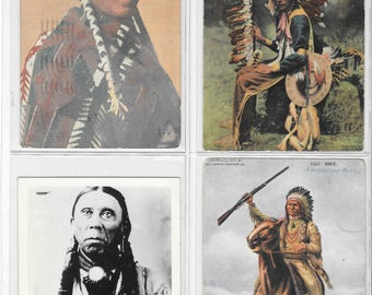 Vintage Postcard Lot of 4 Native American Individual Portraits Early 1900s