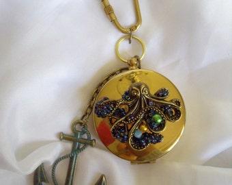 Steampunk Ornate Nautical Bronze Coloured Gear & Octopus / Kraken Key Ring Brass Compass