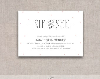 Sip and See Printable Invite, Baby Shower