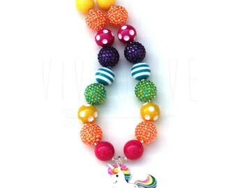 Unicorn Necklace - Unicorn Gifts for Girls - Girl's Unicorn Necklace - Girl's Unicorn Dress - Unicorn Outfit - Rainbow Unicorn - Easter Gift