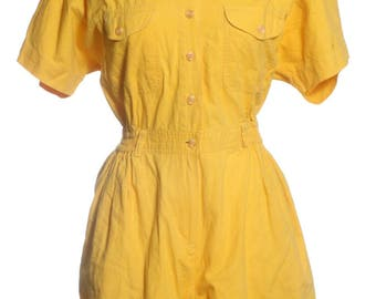 Vintage 1980's Yellow Playsuit 12 - www.brickvintage.com