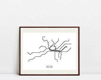 Oslo Metro Map - Black and White Art Print - Digital Download Art Print