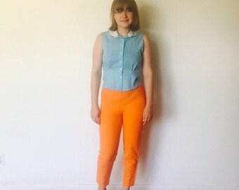 50s High Rise Capri Pants Orange Zip Back Size S 5 6 Pin Up Rockabilly VLV by Alpaq