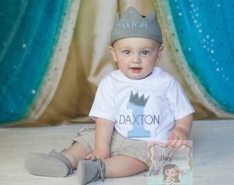 First Birthday Boys Shirt King Crown Embroidered ANY COLOR Bodysuit Personalized Custom Name