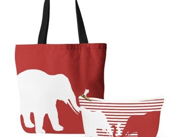 Elephant Tote Bag, Cosmetic Bag, Tote and makeup bag set, gifts for her, Accessory Pouch, Crimson Elephant Bag