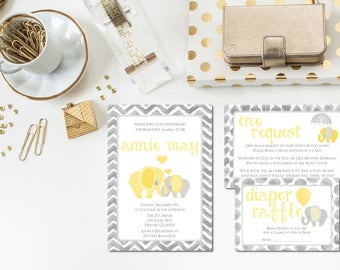 Grey + Yellow Elephant | Baby Shower Invitation Set