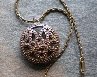 Vintage 50s Art Deco Inspired Large Double Sided Hollow Ornate Pendant Necklace FREE Shipping