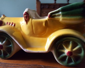 Vintage,pottery planter, car