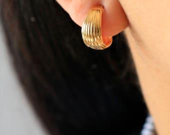 Gold Hoop Stud Earrings - Half Hoop Gold Earrings - Hoop Earrings