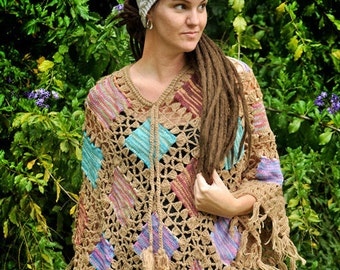 Crocheted Patch Poncho