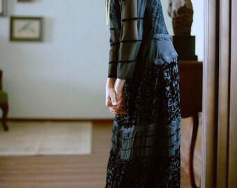 Fine Art Collection black lace velvet Miss Mary dress