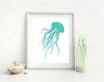 Jellyfish with Greens and Blues - PRINTABLE Wall Art / Hand Drawn Jellyfish Printable / Wall Art / Ocean Art / Nautical / Underwater Life