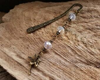 Bronze Fairy Book Charm, Clear Crystal Beaded Book Mark, Fantasy Sparkle Flower Bookmark