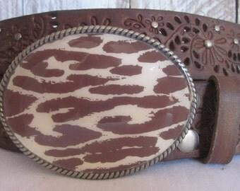 Leopard Print belt buckle Cowgirl belt buckle Bohemian belt buckle Southwestern Country Western Tribal jewelry women's rodeo belt  Buckle
