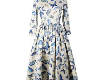 White dress, Autumn dress, Three quarter sleeves, Butterfly dress, Full skirt dress, Round neck dress, Pleated dress, Bridesmaid dress MS57