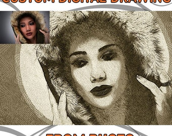 Digital custom drawing from photo, printable jpeg photo, high resolution, fine art hand drawing effect, from photo to drawing, original gift