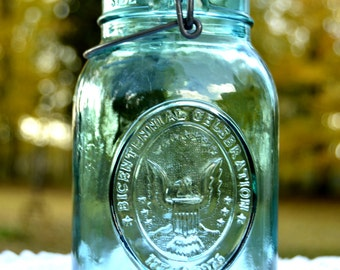 Blue Quart Size Bicentennial Ball Jar 1776-1976 Includes Wire and Rubber