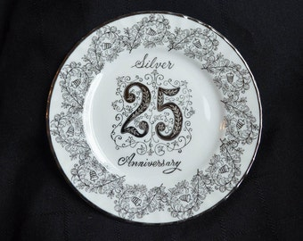 Norcrest Fine China Silver 25th Anniversary Plate