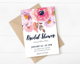 blush bridal shower invitation, floral bridal shower invitation, blush floral invitation, brunch and bubbly, printable invitation