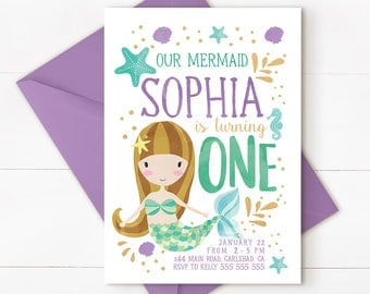 Mermaid invitation, mermaid party, mermaid 1st birthday, under the sea, mermaid birthday invitation, mermaid birthday, mermaid teal purple