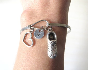 Love to Run Hand Stamped Initial Running Sneaker Stainless Steel Loop Bangle Bracelet