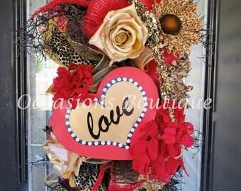 Valentine's Day Wreath, Valentine's Decoration, Front door wreaths, Wreath for door, Valentine's Day, Door Swag, Door Hanger, Heart Wreath
