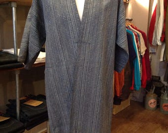 Vintage Japanese mens long kimono indigo kasuri robe dressing gown traditional