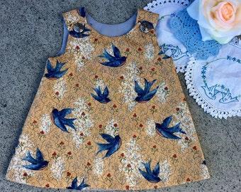 Cute baby girls pinafore , blue birds of happiness fabric, size 3-6 months baby girls dress.handmade baby dress