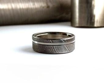 Damascus Steel Ring, Mens Wedding Ring, Mens Engagement Ring, Womens Wedding Ring, Stainless Ring, Titanium Ring, Handmade Ring, Colorado