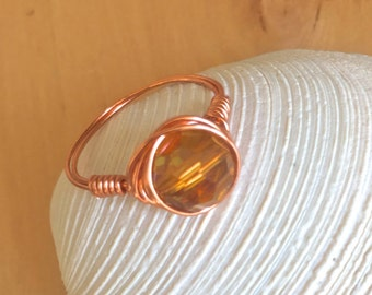 sale Golden CRYSTAL RING copper wire wrapped stacker ring stackable ring sparkly ring yellow crystal