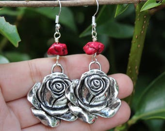 Large Red Coral Rose Earrings / Frida Kahlo Inspired Jewelry / Mexican Jewelry / Dangle Earrings / La Rosa / Loteria Jewelry / Gifts for Her