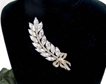 Large Coro Rhinestone Brooch, Vintage Coro Rhinestone Jewelry, Designer Brooch, Rhinestone Feather Brooch, Rhinestone Wheat Spray, Navettes