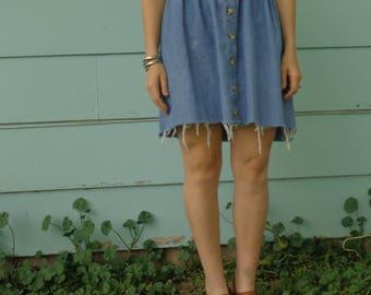90s Vintage Denim Mini Dress Cut off Button Down Baby Doll Grunge Minimal Womens Size Small