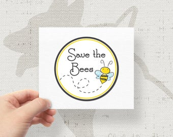 "Save The Bees Bumper Sticker Decal 4"" Circle"