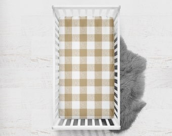 Fitted Crib Sheet Buffalo Check in Tan. Tan Crib Sheet. Buffalo Check Baby Bedding. Minky Crib Sheet. Plaid Crib Sheet. Crib Sheet.