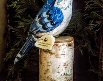 Blue Jay On Birch Stump
