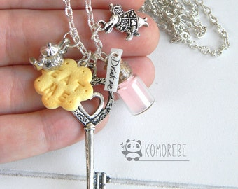 Alice in Wonderland inspired, necklace-multicharms
