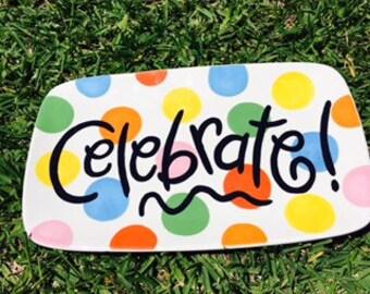 Monogram Happy Everything Colorful Dot  Platter